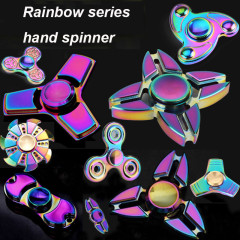 9スタイルレインボーシリーズ金属合金クールハンドスピナーカラフルフィジェットスピナーおもちゃジャイロおもちゃでリテールボックスストレスリリーフおもちゃ
